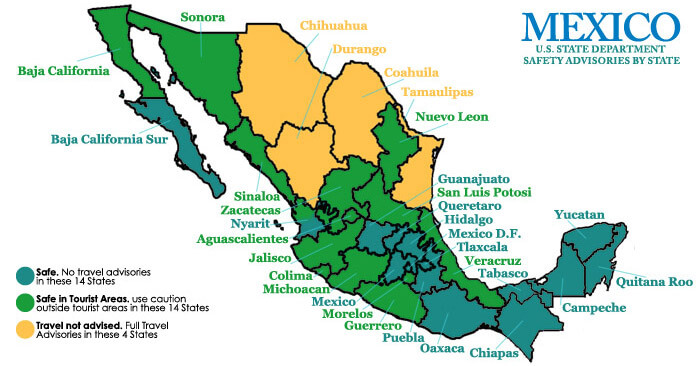 safe in mexico map